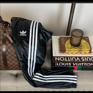 Adidas faux leather joggers size S